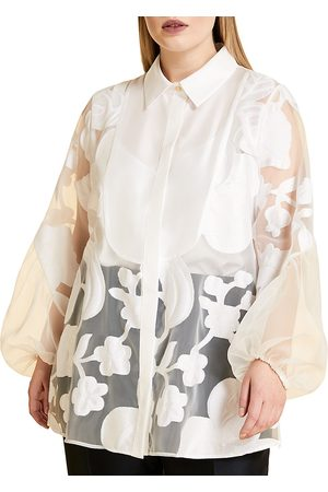 Persona by Marina Rinaldi Women's Batavia Floral-Embroidered Sheer Puff-Sleeve Blouse - - Size 22W