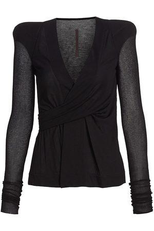 RICK OWENS LILIES Women's Padded Shoulder Wrap Jacket - - Size 2