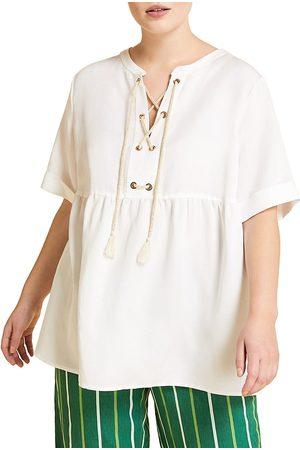 Persona by Marina Rinaldi Women's Battito Linen-Blend Tassel Blouse - - Size 20W