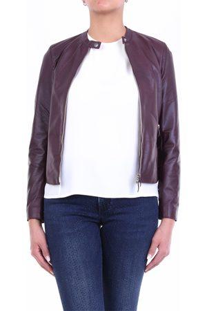 EMANUELE CURCI Leather jackets Women Plum