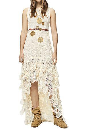 Loewe Paula's Ibiza Long Asymmetric Crochet Dress in Ivory