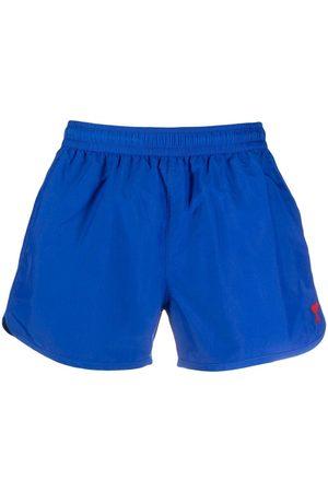 AMI Paris Men Swim Shorts - Monogram-embroidered swim shorts