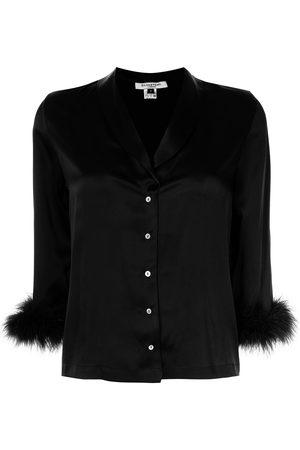 Gilda & Pearl Women Pajamas - Kitty feather-trim pajama top