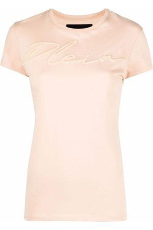 Philipp Plein Women T-shirts - Satin logo-embroidered T-shirt - Neutrals