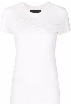 Philipp Plein Women T-shirts - Logo-embroidered cotton T-shirt - Neutrals