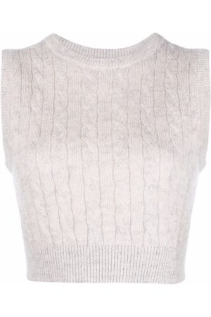 Brunello Cucinelli Women Tank Tops - Cable knit sleeveless top - Grey