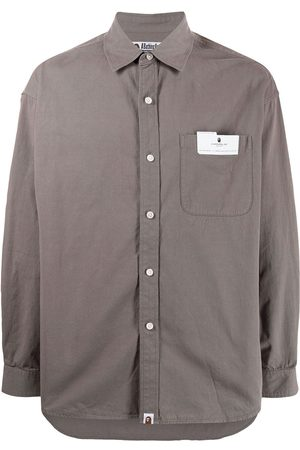 A Bathing Ape Logo-patch shirt - Grey