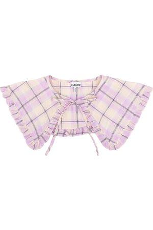 Ganni Check-print tie-fastening collar