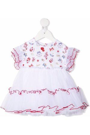 MONNALISA Contrast-trim ruffled dress