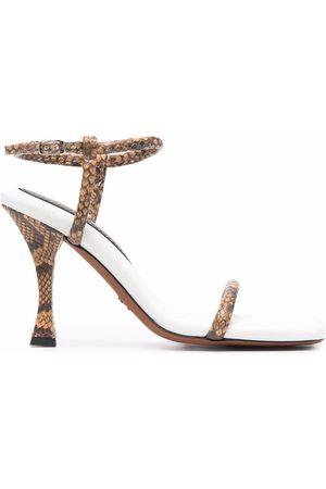 Proenza Schouler Pipe snakeskin-effect sandals - Neutrals