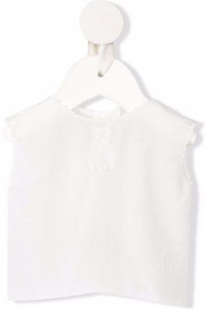 LITTLE BEAR Teddy bear-embroidered silk blouse