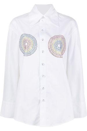 Christopher John Rogers Women Shirts - Rhinestone-embellished cotton shirt