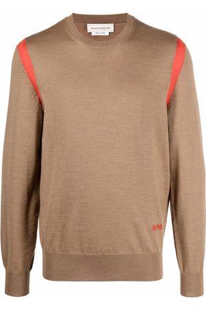 Alexander McQueen Men Sweatshirts - Contrast-panel fine knit jumper