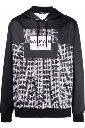 Balmain Monogram print hoodie