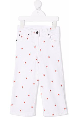 Stella McCartney Floral-embroidered straight-leg jeans