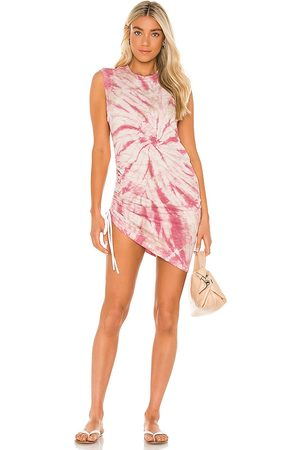 Pam & Gela Tie Dye Sleeveless Ruched Dress in Mauve.