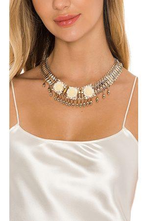 Anton Heunis Crystal Flower Statement Necklace in Metallic Gold.