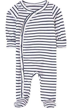 A Happy Brand Striped Footed Baby Body White - Unisex - 50/56 cm - Navy - Pyjamas
