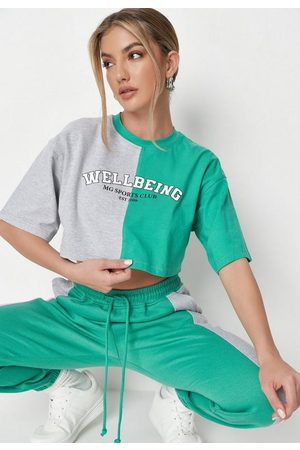 Missguided Colorblock Graphic Cropped T Shirt