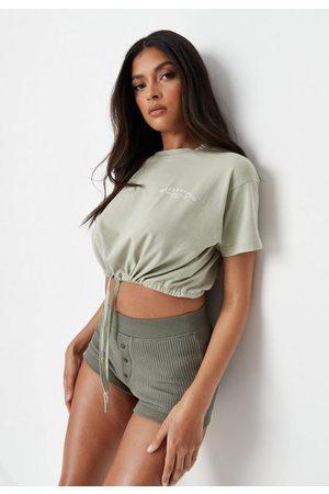 Missguided Petite Sage Drawstring Cropped T Shirt
