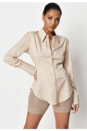Missguided Nude Satin Slim Fit Shirt