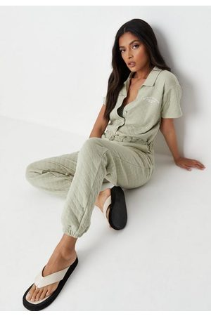 Missguided Sage Sports Club Quilted Romper