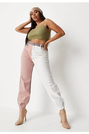 Missguided Plus Size White Colorblock Jogger Jeans