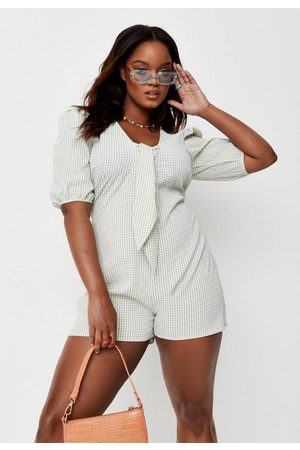 Missguided Plus Size Sage Gingham Tie Milkmaid Romper