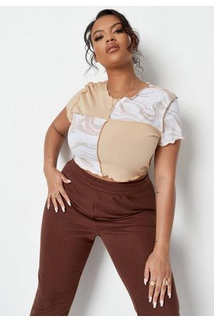 Missguided Plus Size Stone Rib Marble Print Colorblock Crop Top