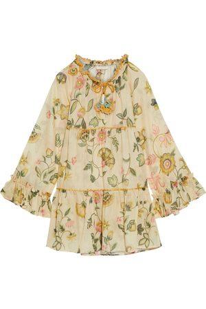 ANJUNA Woman Lara Tiered Crochet-trimmed Floral-print Cotton-voile Mini Dress Size M
