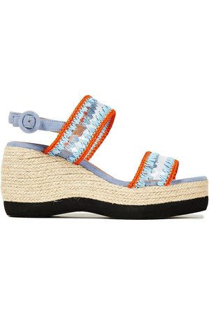 Castaner Castañer Woman Xully Whipstitched Pvc And Suede Wedge Espadrille Sandals Light Size 35