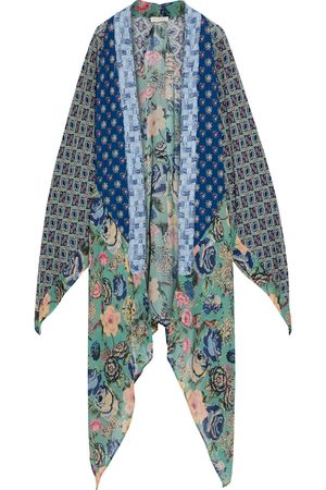 ANJUNA Woman Lia Asymmetric Patchwork Printed Crepe De Chine And Chiffon Kimono Bright Size M