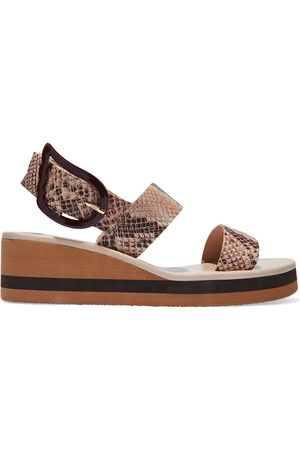 Ancient Greek Sandals Woman Clio Snake-effect Leather Wedge Sandals Animal Print Size 36