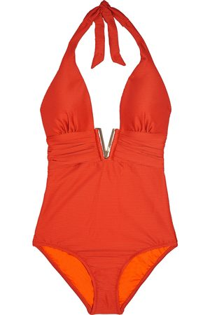 Heidi Klein Woman Cayman Islands Ruched Ribbed Halterneck Swimsuit Size L