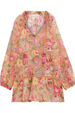 ANJUNA Woman Luana Crochet-trimmed Floral-print Cotton-voile Coverup Antique Rose Size M