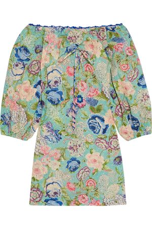 ANJUNA Woman Luisa Floral-print Broderie Anglaise Cotton Mini Dress Leaf Size L