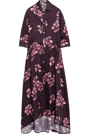 ANJUNA Woman Frida Crochet-trimmed Floral-print Linen Maxi Shirt Dress Burgundy Size M