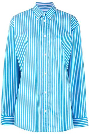 Balenciaga Women Shirts - Striped large-fit button down shirt