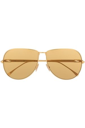 Fendi Chain-effect slim aviator sunglasses