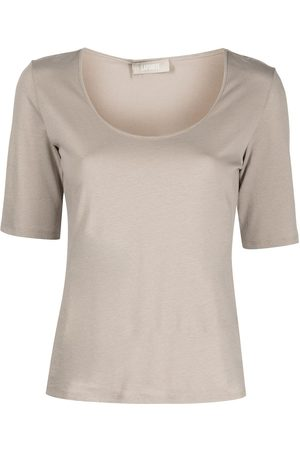 LAPOINTE Scoop-neck short-sleeve top - Grey