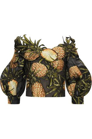 Oscar de la Renta Off-shoulder pineapple-print blouse