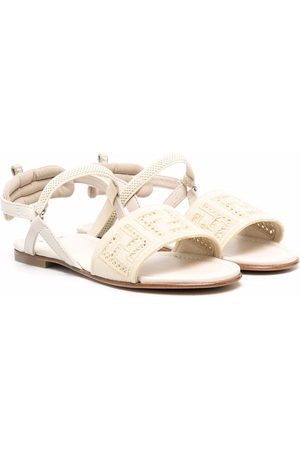 Fendi Kids FF motif sandals - Neutrals