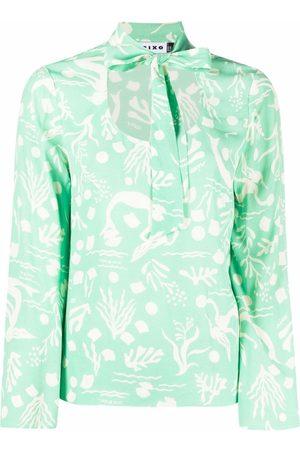 RIXO London Graphic-print tie-fastening blouse