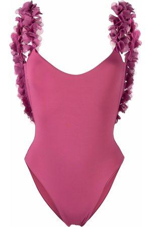 LA REVECHE Amira floral-trim swimsuit