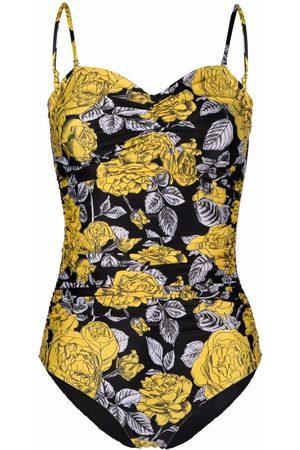 Ganni Sweetheart neckline floral swimsuit