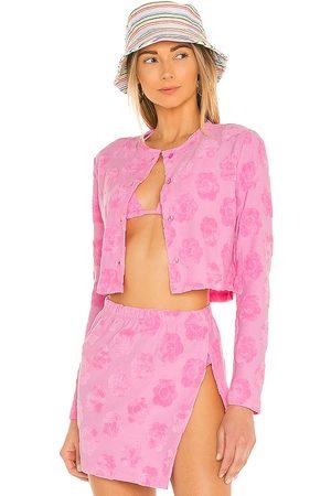 Frankies Bikinis Cherie Terry Cardigan in Pink.
