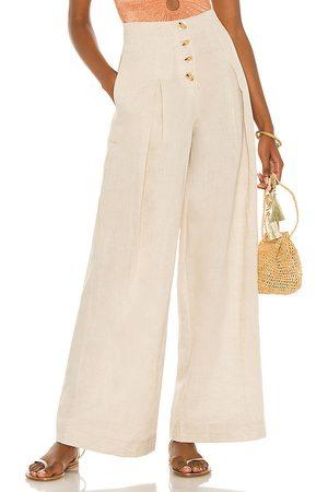 Suboo Women Wide Leg Pants - Cecile Linen High Waist Pant in Beige.