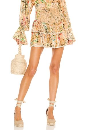 HEMANT AND NANDITA Women Mini Skirts - X REVOLVE Veena Skirt in Peach.