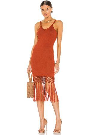 JoosTricot Tassels Midi Dress in Burnt Orange.