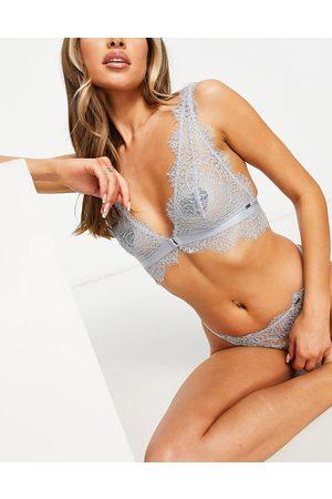 Lindex Nicole delicate lace longline bralette in blue-Blues